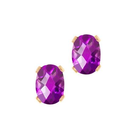 1.50 Ct Oval Checkerboard Shape Purple Amethyst Rose Gold Brass Stud Earrings