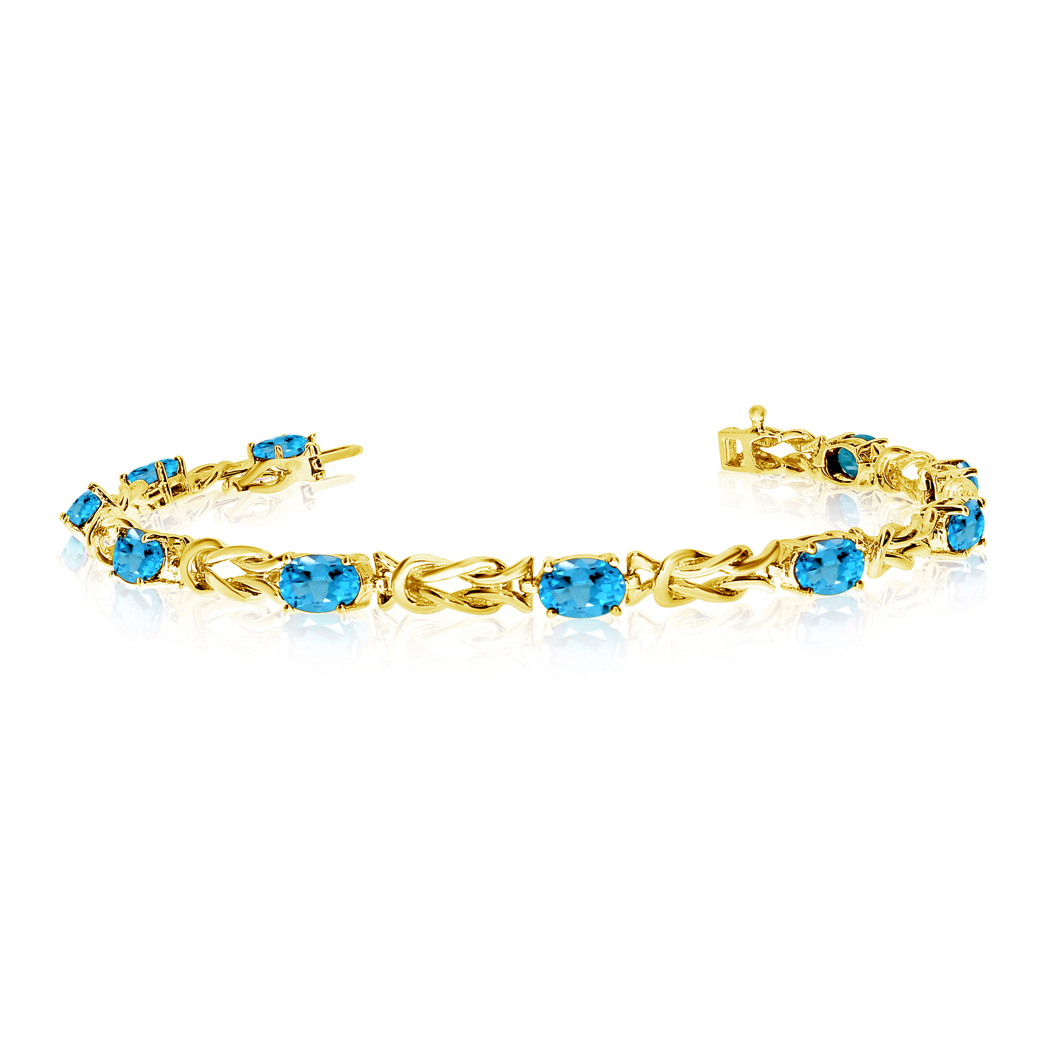 14K Yellow Gold Oval Blue Topaz Reef Knot Bracelet by
