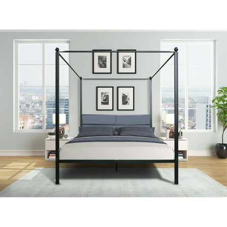 Queen Canopy Metal Upholstered Four-Poster Bed Frame