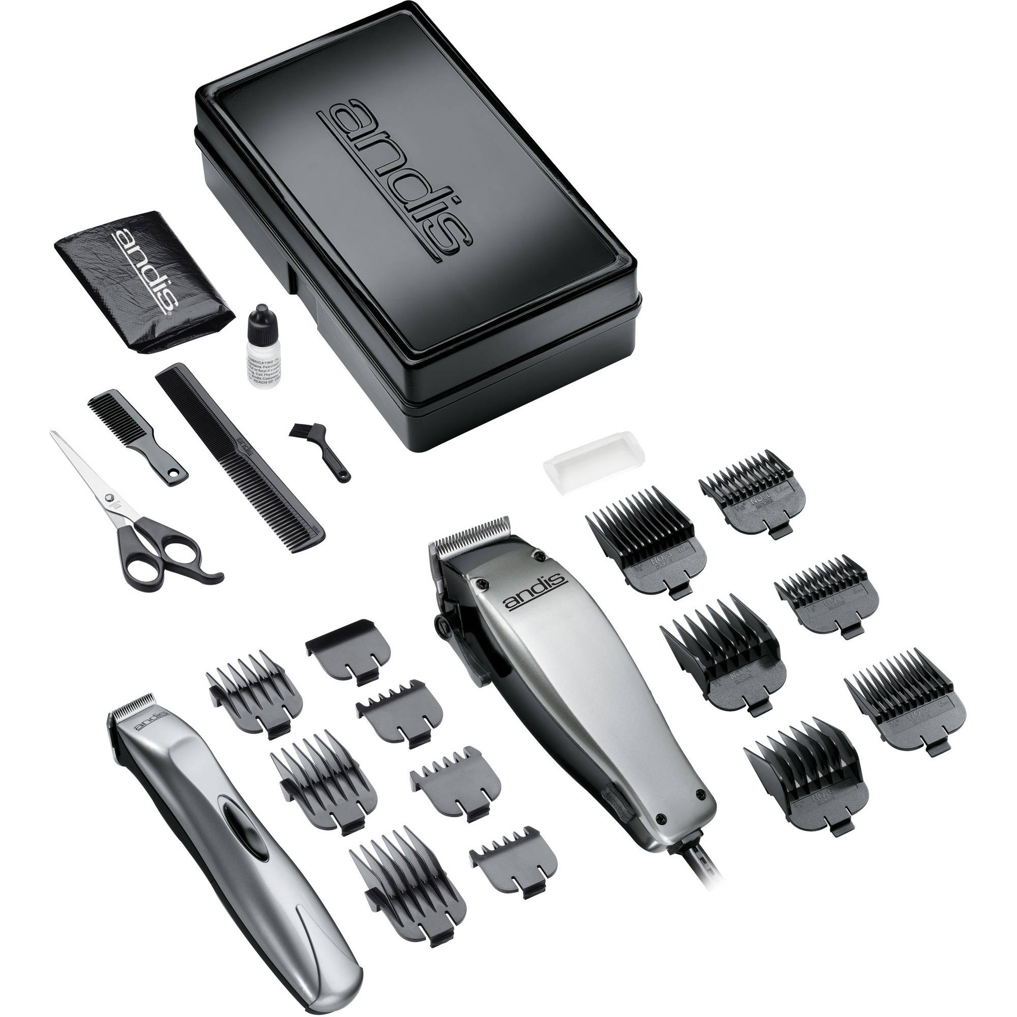 Andis Men's Clipper/Trimmer Combination Kit, 20140, 23 Pieces, Silver