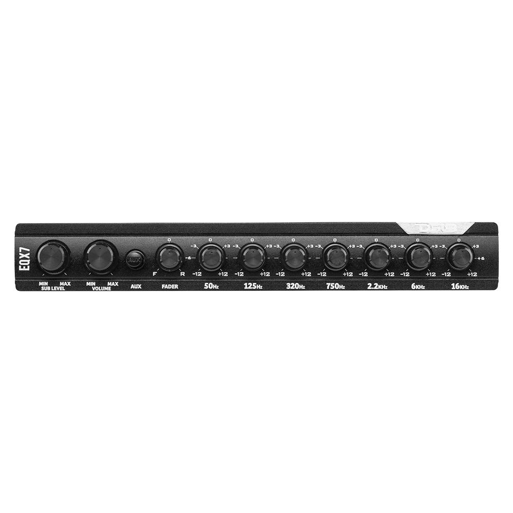 8 Volts Front Two Rear inputs Main and Aux DS18 EQX7 Equalizer 7 Bands with auto Hi//Lo line Selector Rear and Sub Output
