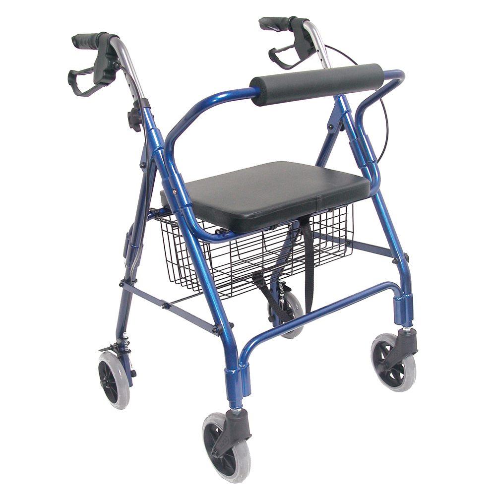 HealthSmart Ultra Lightweight Aluminum Rollator with Straight Backrest, Royal Blue