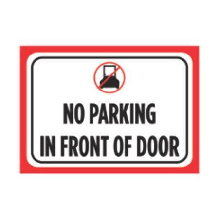 No Parking In Front Of Door Print Red White Black Poster Picture Symbol Notice Business (Paint Black Doors)