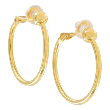 Gold Tone Beaded Hoop (Gold Tone Thin Hoop Pierced Look Clip On Earrings 1 1/4
