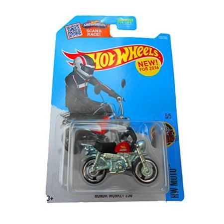 hot wheels, 2016 honda monkey mini bike [black and red] #135/250 (Black Rwd Wheels)