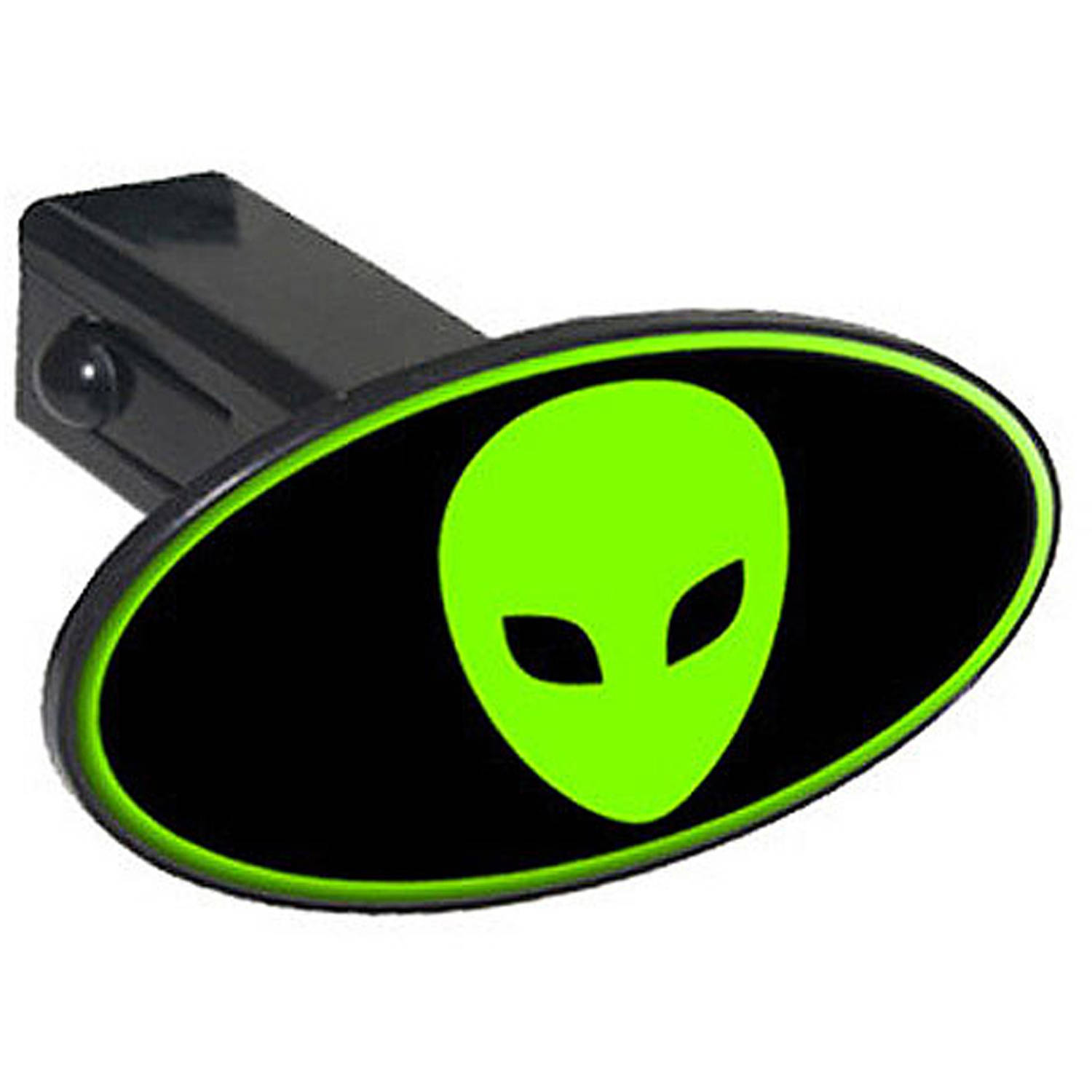 """Alien Head Green On Black 1.25"""" Oval Tow Trailer Hitch Cover Plug Insert by Graphics and More"""