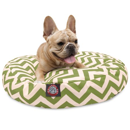 Majestic Pet Chevron Round Dog Bed Treated Polyester Removable Cover Sage Small 30 x 30 x 4