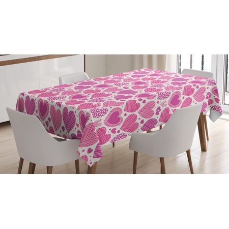 Valentines Tablecloth, Romantic Heart Shapes with Many Different Designs Polka Dots Crossed Lines, Rectangular Table Cover for Dining Room Kitchen, 60 X 84 Inches, Hot Pink White, by Ambesonne