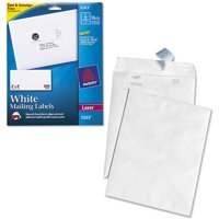 """Avery Laser Shipping Labels with TrueBlock Technology, White 2"""" x 4"""", Pack of 250 and Quality Park White Leather Tyvek Plain Envelopes Bundle"""