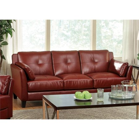 Furniture of America Tonia Leather Tufted Sofa in Red