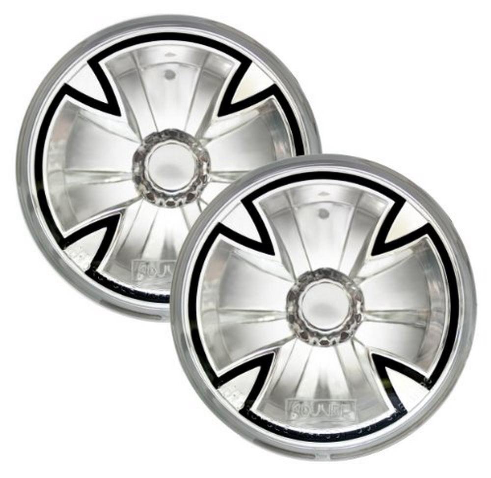 "Adjure T42X00 Clear Lens 4-1/2"" Diamond Cut Iron Cross Motorcycle Spotlight with H3 Bulb - Pair"