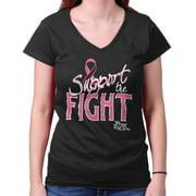 Breast Cancer Awareness Shirt | Support Fight Pink Ribbon BCA Junior V-Neck Tee