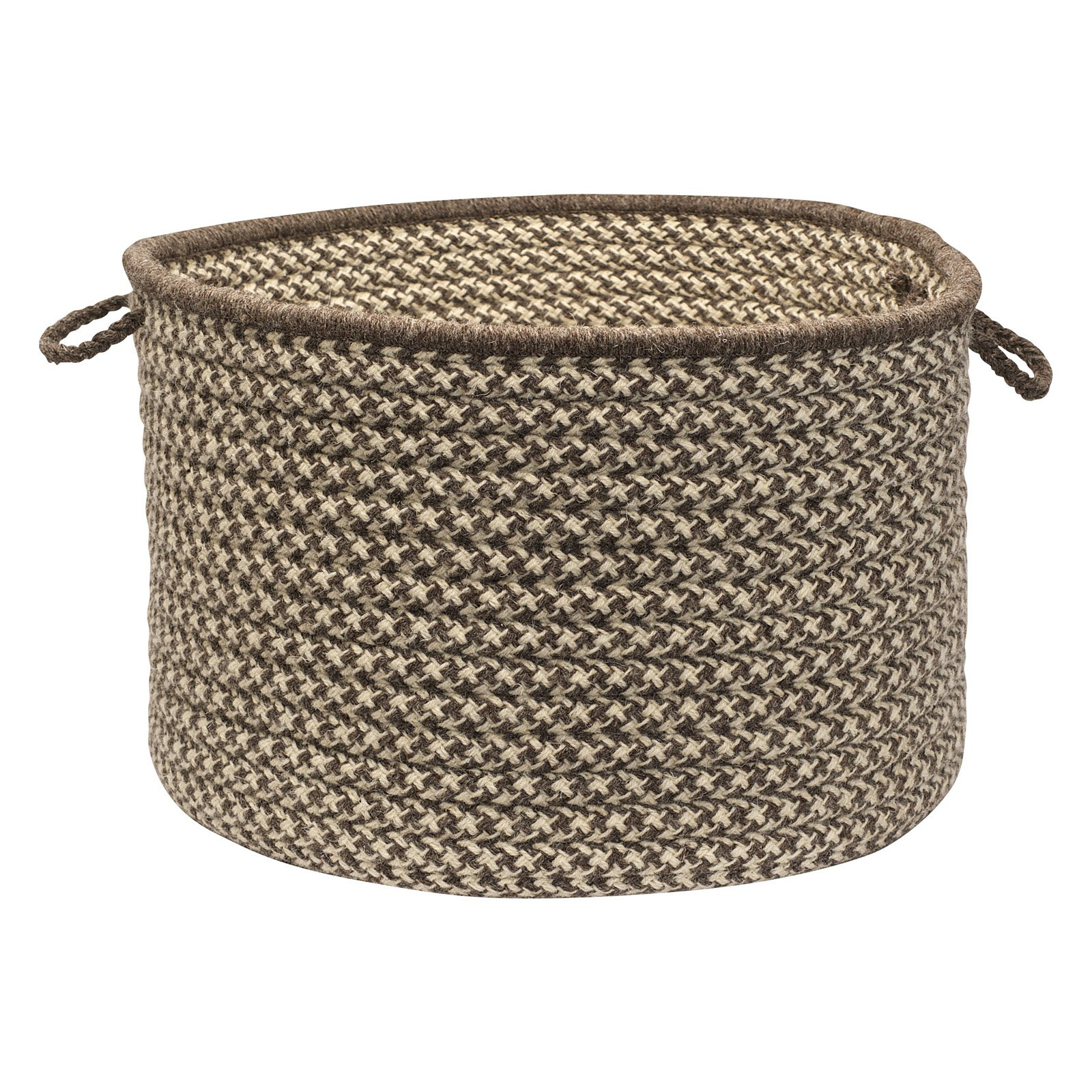 Colonial Mills HD36A018X018 Natural Wool Houndstooth Utility Basket - Espresso