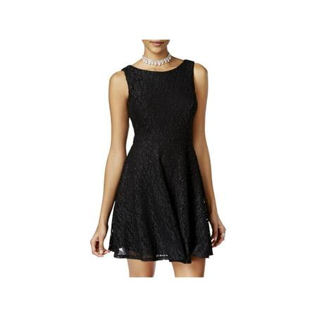 Speechless Womens Juniors Lace Glitter Party Dress Black 3