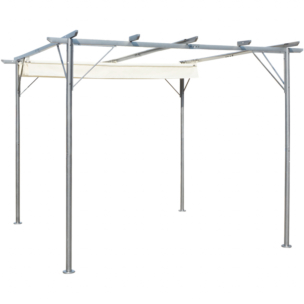 Outdoor 9.8u0027x9.8u0027 Canopy Gazebo Pergola With Retractable Roof Steel   Cream