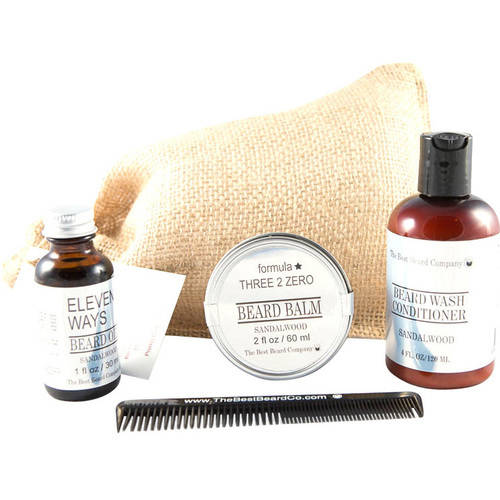 The Best Beard Company Sandalwood Premium Grooming Traveling Kit, 5 pc