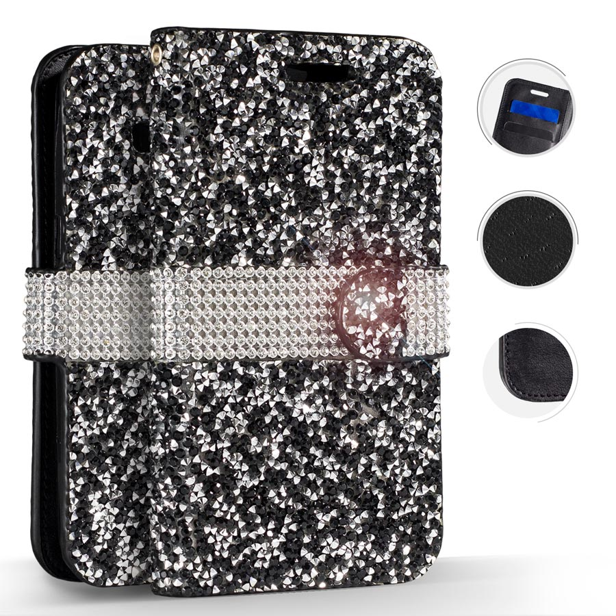 Zizo Full Diamond Flap Wallet Pouch For Samsung Galaxy S7 G930 Credit Card Pockets Cover Case