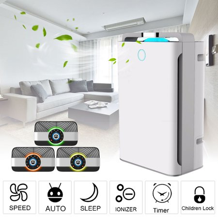 AUGIENB 3 in1 True HEPA Air Purifier System+ Ionizer Filter +UV Sterilizer +Humidifier for PM2.5 Odor Reduction and Touch Panel Home Offices (Hepa Filter Humidifier)