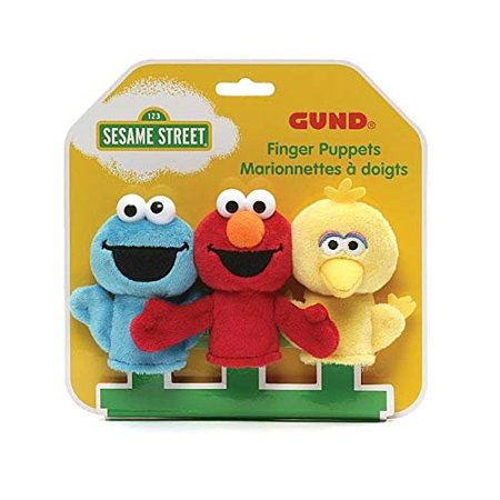 Purple Monster Puppet (GUND Sesame Street Finger Puppets Set of 3 Elmo, Big Bird and Cookie Monster )