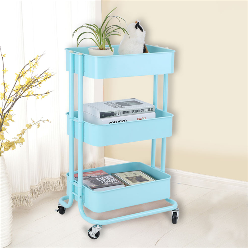 3 Tiers Storage Trolley Cart Slim Rolling Trolley With Wheels for Home Bedroom, Living Room,Kitchen