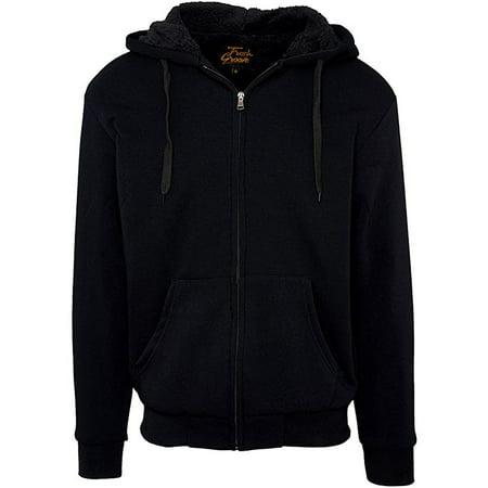 Fresh Groove Men's Soft Sherpa-Lined Fleece Hoodie Sweatshirt, Black, S