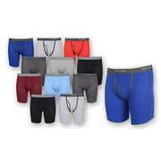 Fruit of the Loom (12 Pack Mens Underwear Cotton Boxer Briefs with Fly Soft Comfortable Tag Free Blue