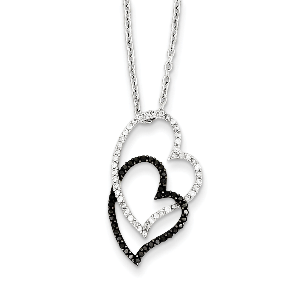 3 8 Ctw Black & White Diamond Double Heart Necklace in Sterling Silver by Black Bow Jewelry Company