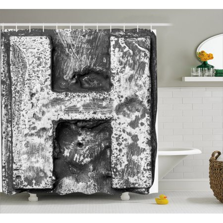 Letter H Shower Curtain  Victorian Stylized Capital H Font In Chrome Rock Tones Steel Look Retro Design  Fabric Bathroom Set With Hooks  69W X 75L Inches Long  Black Grey  By Ambesonne