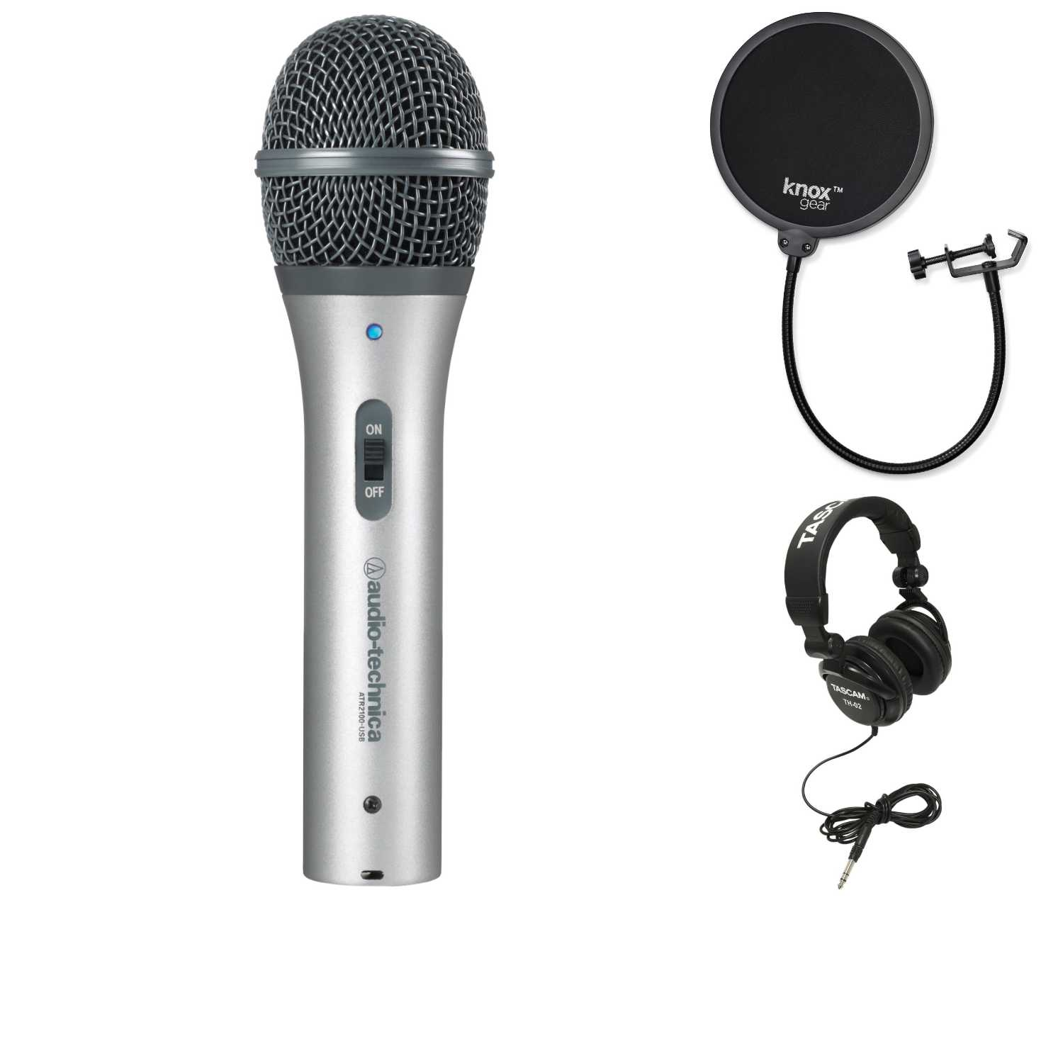 Audio-Technica ATR2100-USB Cardioid USB/XLR Microphone + Knox Gear Pop Filter + Headphones