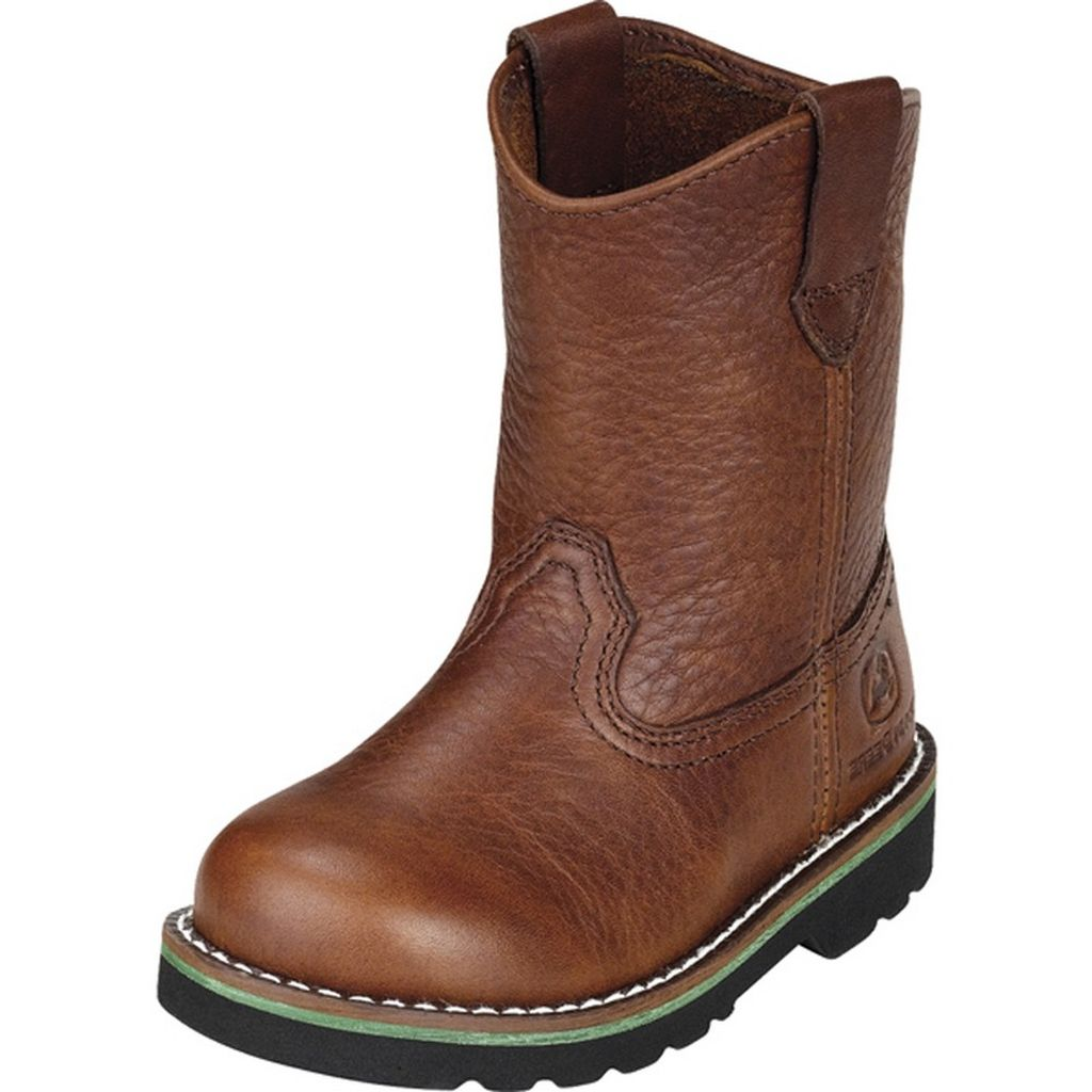 John Deere Western Boots Boys Wellington Round Toe Walnut JD1213 by John Deere