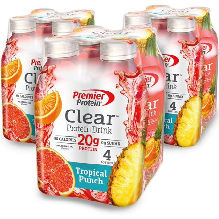 Premier Protein Clear Protein Drink, Tropical Punch, 20g Protein, 16.9 Fl Oz, 12 (Best High Protein Drinks)