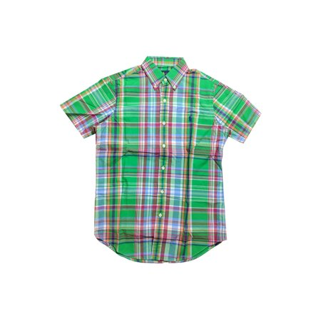 Men's Ralph Lauren Plaid Button Down Short Sleeves Shirt, Green/Ruby (L) W11 Boys Ralph Lauren Button