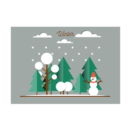 nature winter landscape with christmas trees snowmen snow drifts happy new year card print wall art by oxygen_8