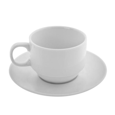 10 Strawberry Street Bistro Tea Cup and Saucer in White (Set of 6)