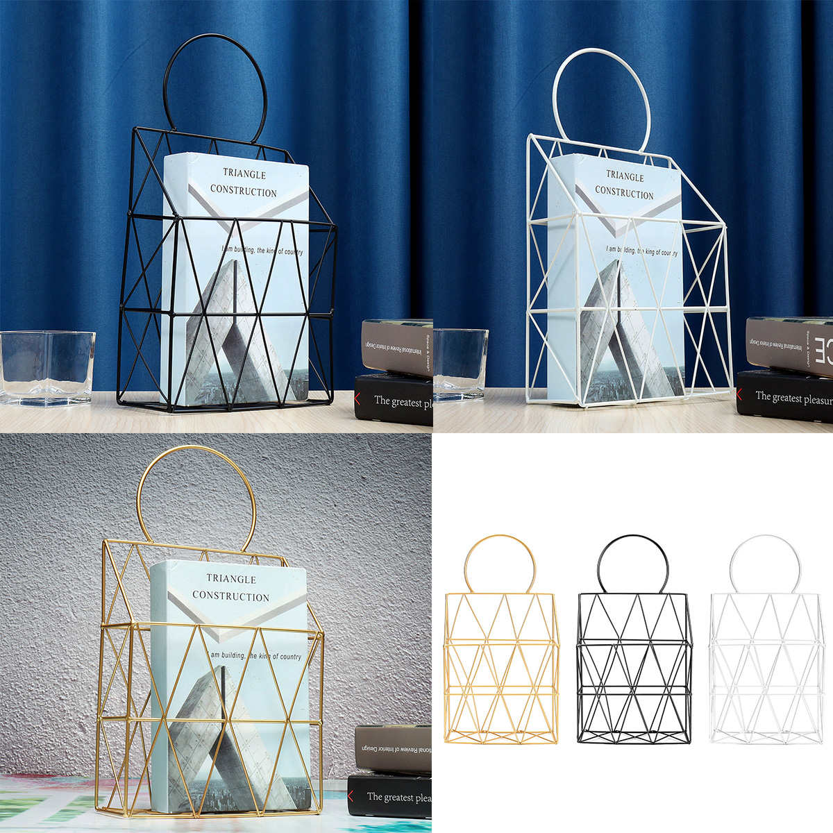 Magazine Display Stand Organizer Storage HolderWall Hanging Tabletop Decor Home Office Decor Book Rack