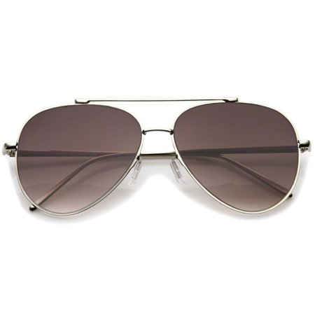 sunglassLA - Classic Large Teardrop Crossbar Flat Lens Aviator Sunglasses - (Teardrop Aviator Sunglasses)