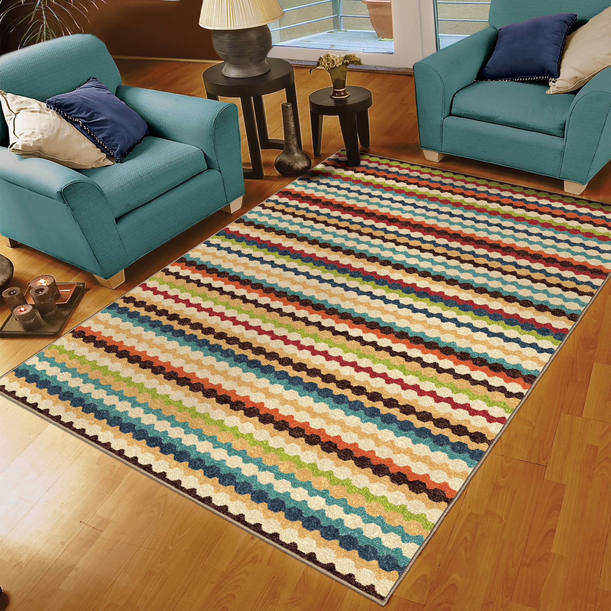 Orian Rugs Indoor/Outdoor Nik Nak Multi-Colored Area Rug or Runner ...