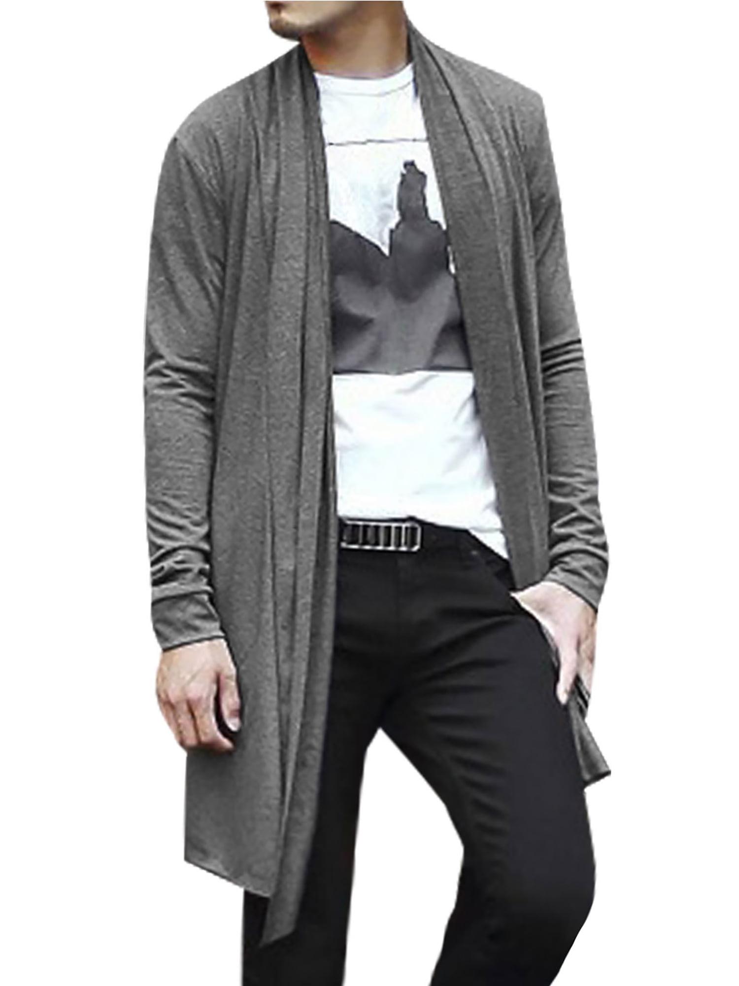Unique Bargains Men's Shawl Collar Open Front Pockets High-Low Hem Long Cardigan Gray (Size L / 44)