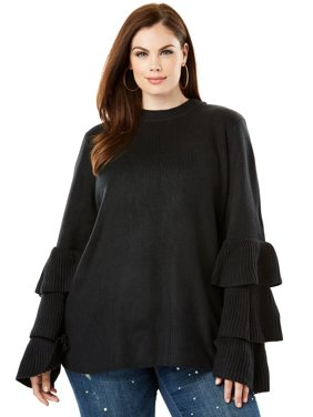 d13345cac5e79 Product Image Plus Size Tiered-sleeve Sweater
