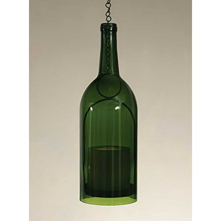 1 5 liter wine bottle hanging pillar candle holder emerald green bottle. Black Bedroom Furniture Sets. Home Design Ideas
