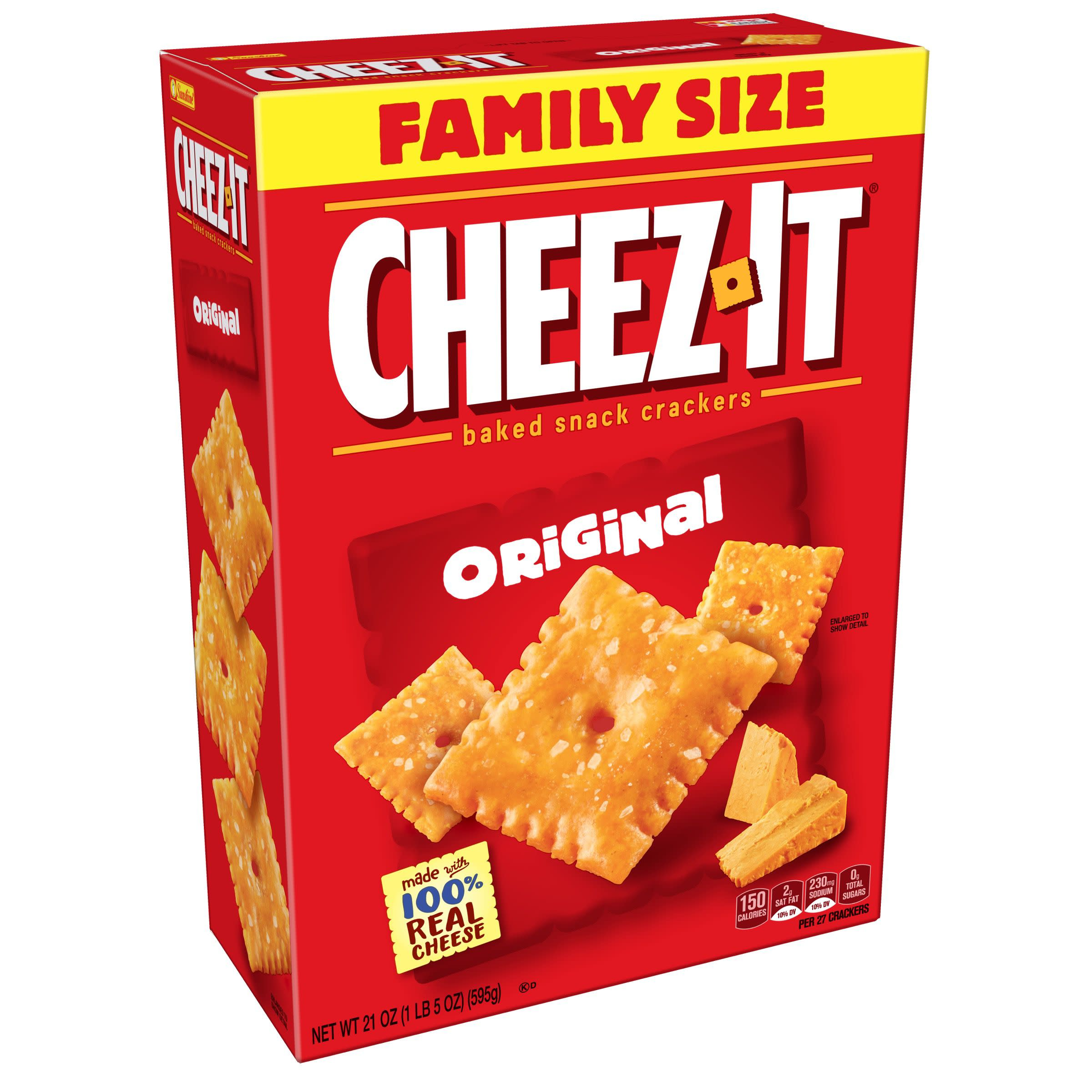 Cheez-It Baked Snack Cheese Crackers Original Family Size, 21 oz