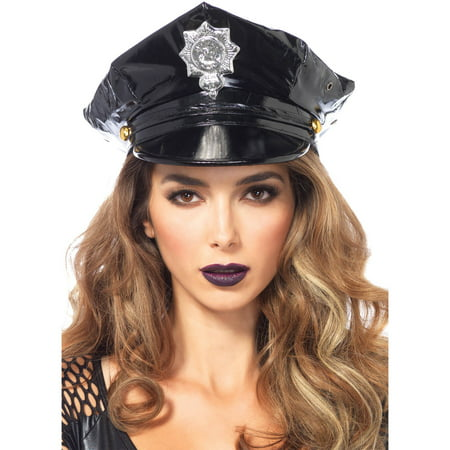 Leg Avenue Women's Police Hat Costume Accessory, Black, One Size](Female Police Costumes)
