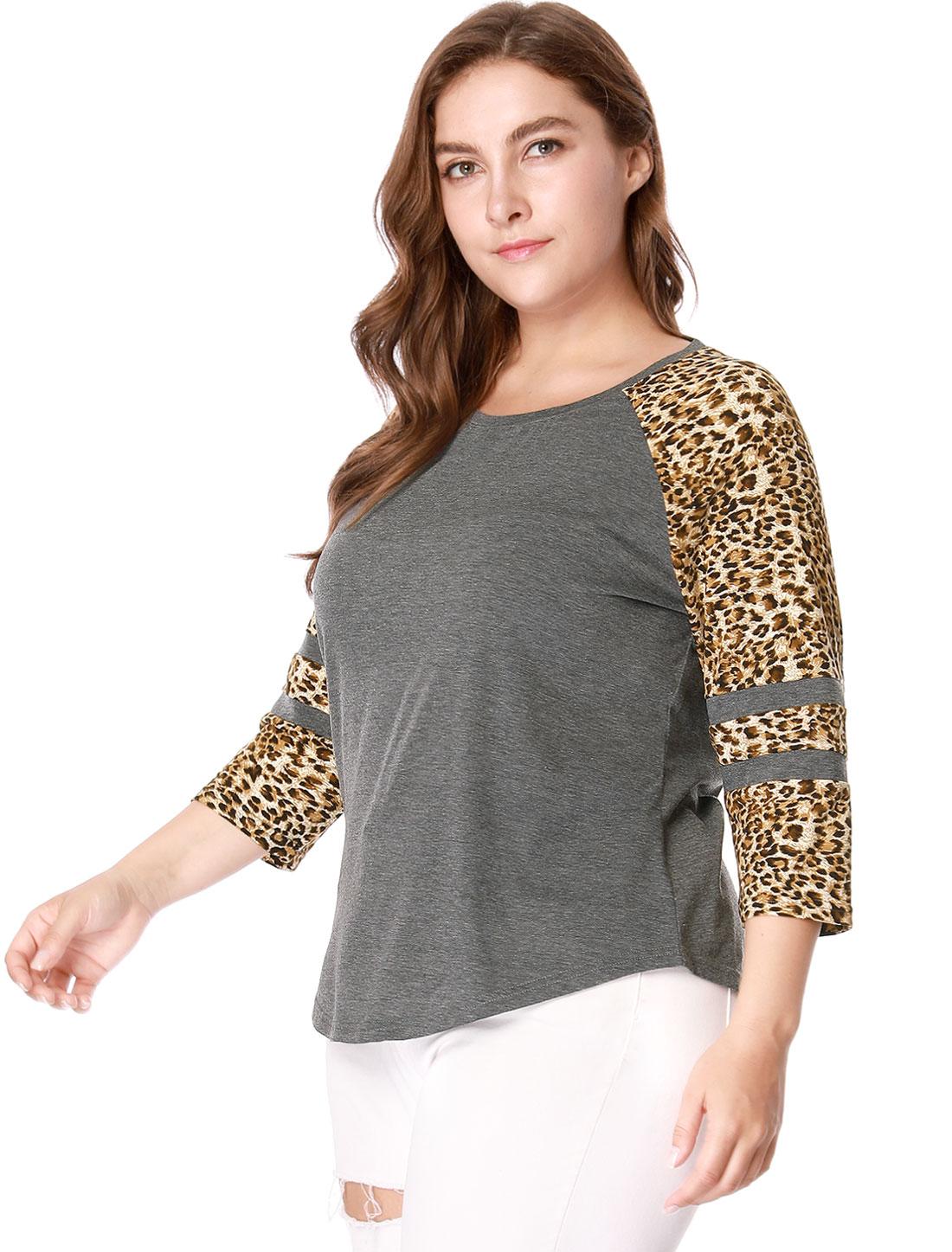 218a22c6527d Unique Bargains - Women's Plus Size 3/4 Raglan Sleeve Leopard Print Fashion Tops  Blouse Shirt - Walmart.com