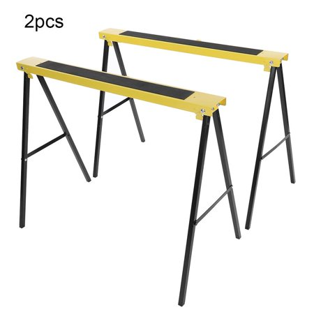 HERCHR 2Pcs Folding Heavy Duty Steel Sawhorse Portable Saw Horse Non Slip Trestle Stands Work Support , Folding Sawhorse, Heavy Duty