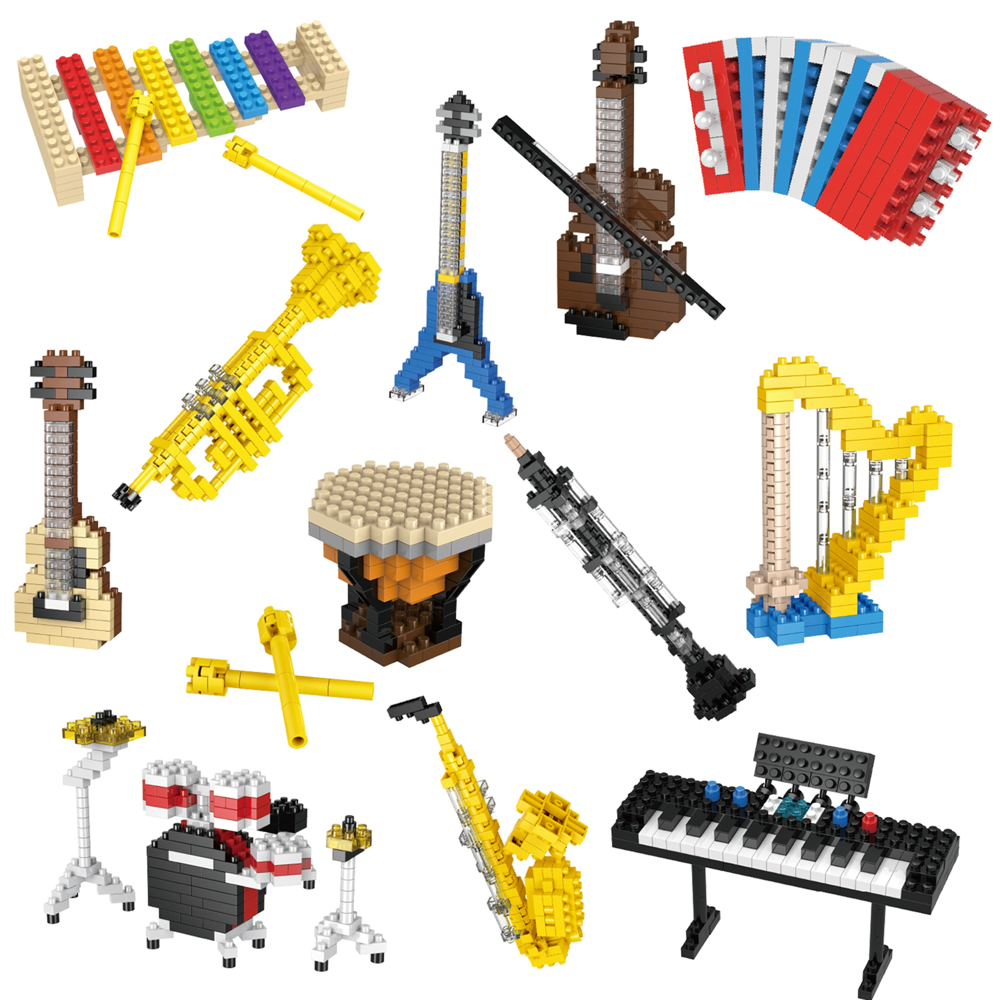 Party Favors For Kids Mini Musical Instrument Building Blocks Sets For Goodie Bags Prizes Easter Basket Stuffers 12 Boxes F 506 Walmart Com Walmart Com
