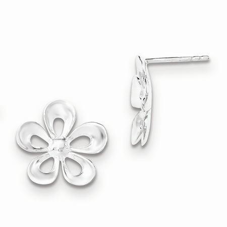 (.925 Sterling Silver 16 MM Flower Post Stud Earrings MSRP $30)