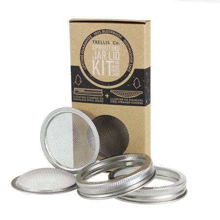 Trellis & Co. Stainless Steel Sprouting Lids - Pack of 2 - 316 Stainless - CURVED Mesh - Fits Most Wide Mouth Mason Jars - Grow Your Own Sprouts from Seeds - Sprouter