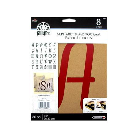 Plaid Folkart Stencil Paper Alphabet Italic 8