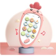 Every child will like it:Pink Mobile Phone Toy Soft Plastic Early Education Puzzle Bilingual Infant Safety Can Bite Multi-Function