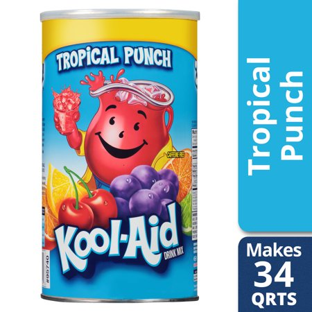 Punch Drink For Halloween ((3 Pack) Kool-Aid Sugar Sweetened Tropical Punch Powdered Soft Drink, 82.5 oz)